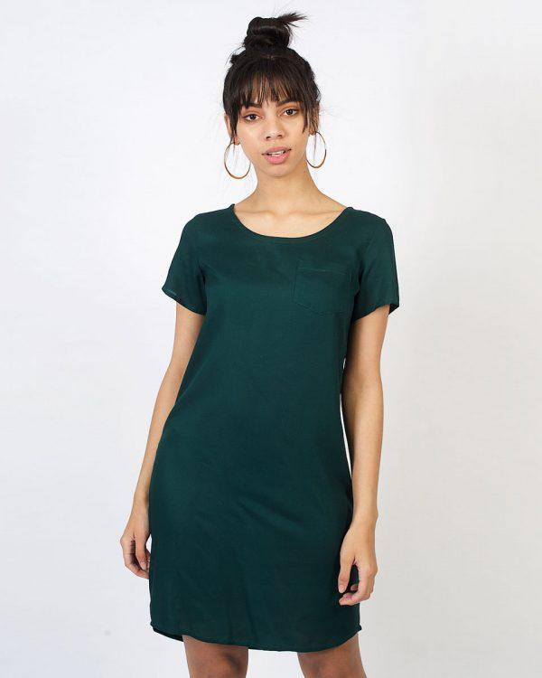 Trendy Tee Dress - Bottle Green - Front 2