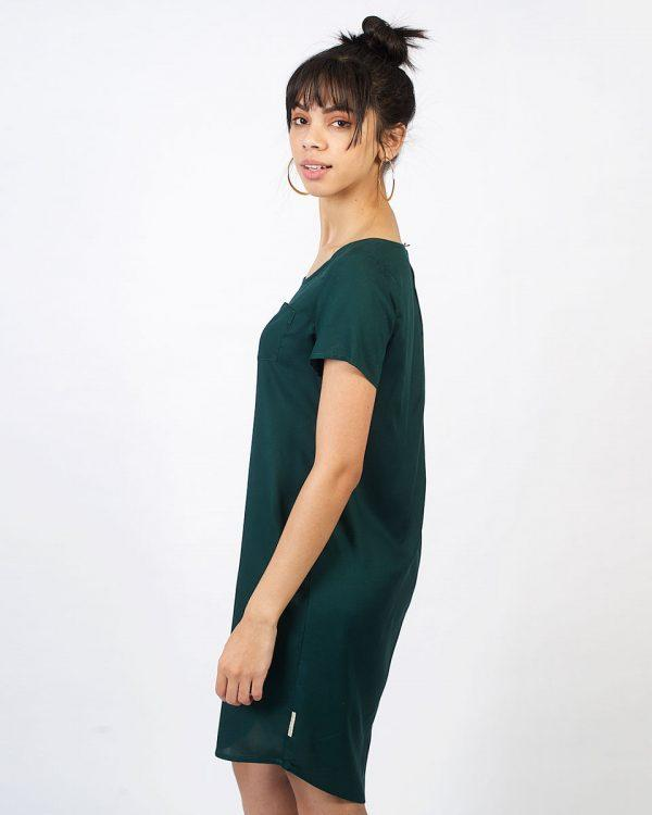 Trendy Tee Dress - Bottle Green - Side