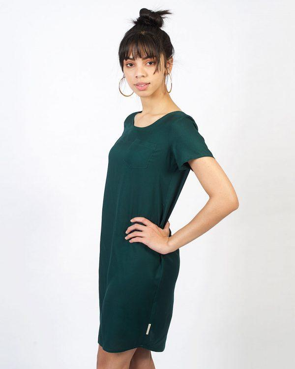 Trendy Tee Dress - Bottle Green - Side front