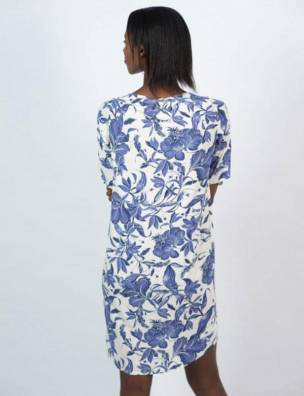 Trendy Tee Dress - Delft Foliage - Back