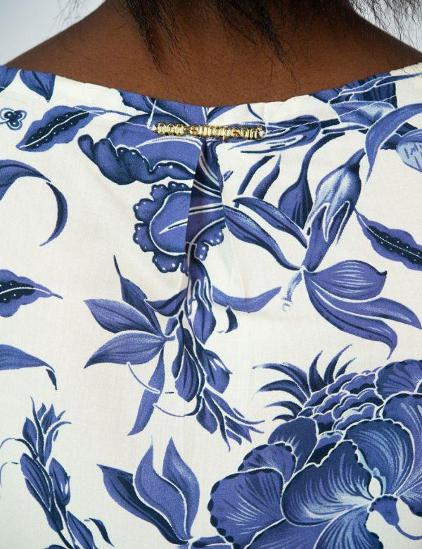 Trendy Tee Dress - Delft Foliage - Back detail