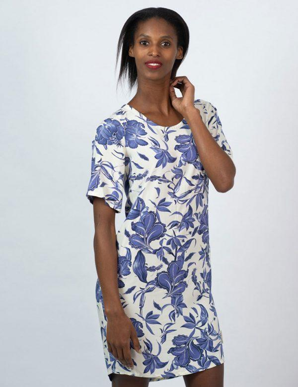 Trendy Tee Dress - Delft Foliage - Front