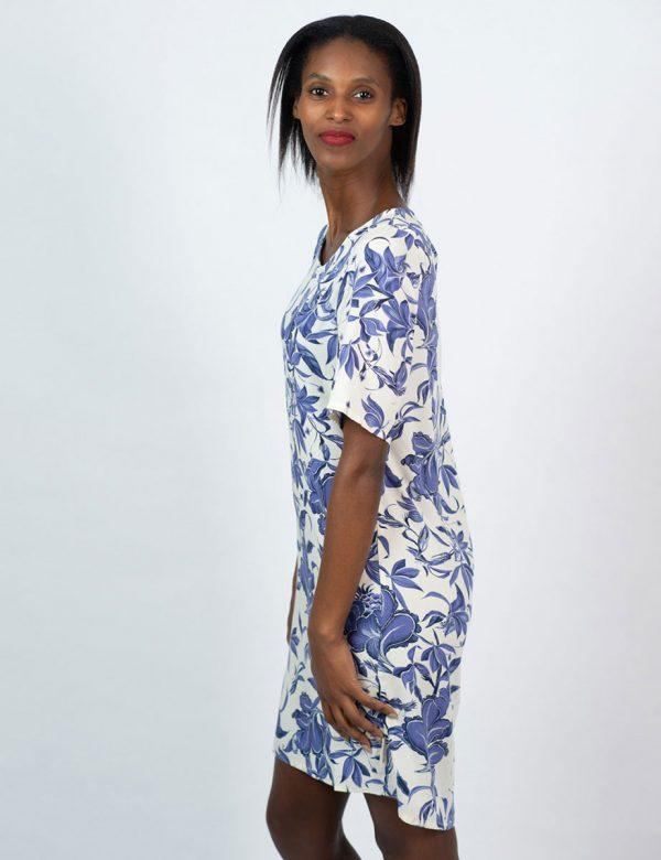 Trendy Tee Dress - Delft Foliage - Side