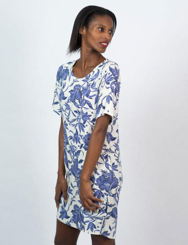 Trendy Tee Dress - Delft Foliage - Side front