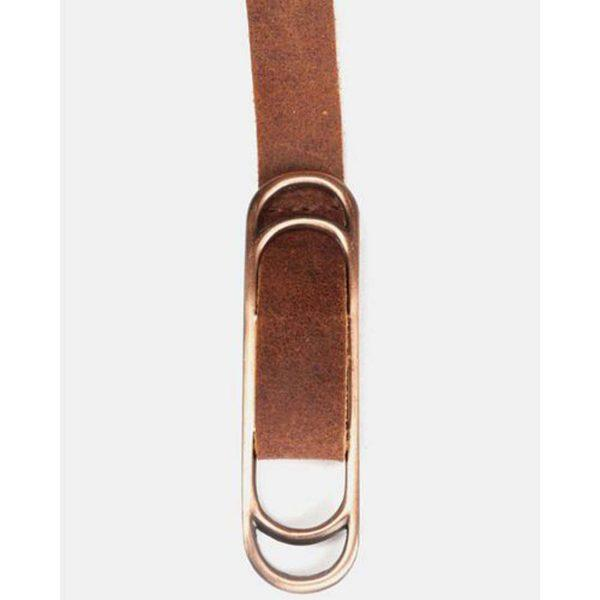 Slider Belt - Dark Tan&Br Ant Nickel - Front detail