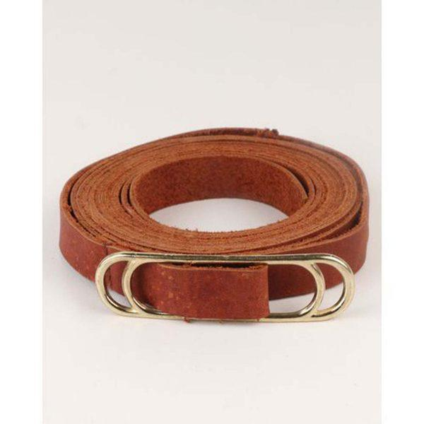 Wraparound Slider Belt - Dark Tan&Gold - Front