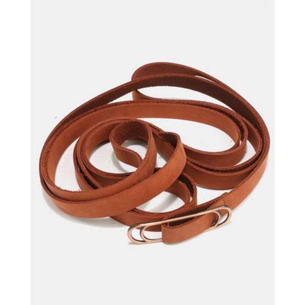 Wraparound Slider Belt - Tan&Br Ant Copper - Front detail