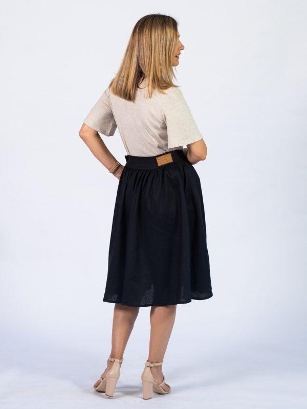 Waistline Linen Skirt - Black - Back