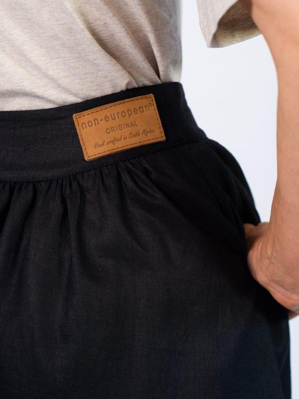 Waistline Linen Skirt - Black - Detail
