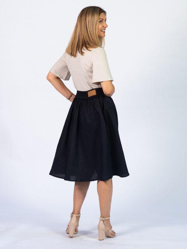 Waistline Linen Skirt - Black - Lifestyle shot