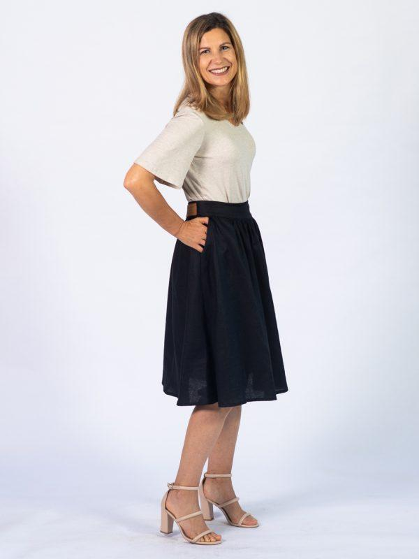 Waistline Linen Skirt - Black - Side