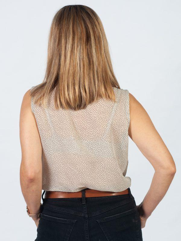 Tie-up Top - Black On Cream Dots - Back