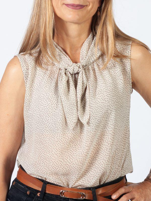 Tie-up Top - Black On Cream Dots - Detail