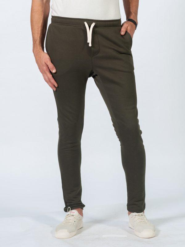 Male Skinny Jogger - Army - Front