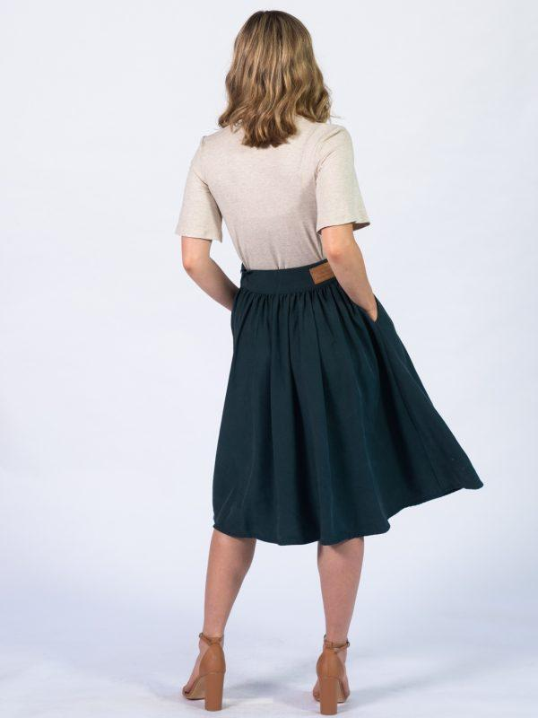 Waistline Skirt - Bottle Green - Back