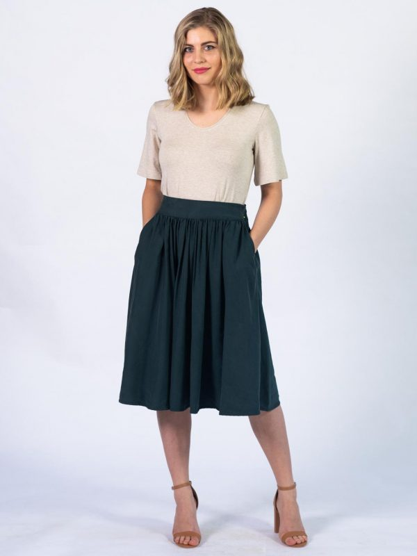 Waistline Skirt - Bottle Green - Front