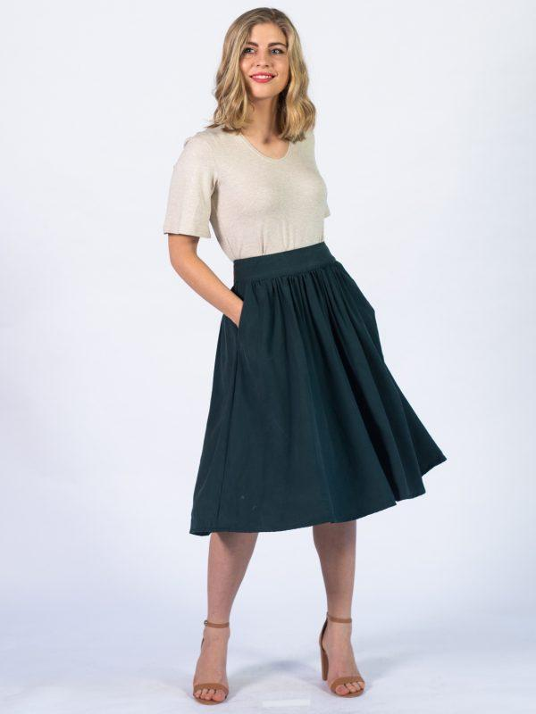 Waistline Skirt - Bottle Green - Lifestyle shot