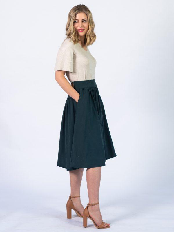 Waistline Skirt - Bottle Green - Side