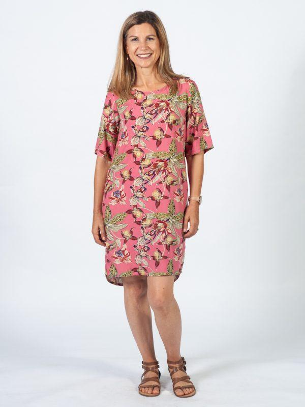 Trendy Tee Dress - Pink Orchid - Front