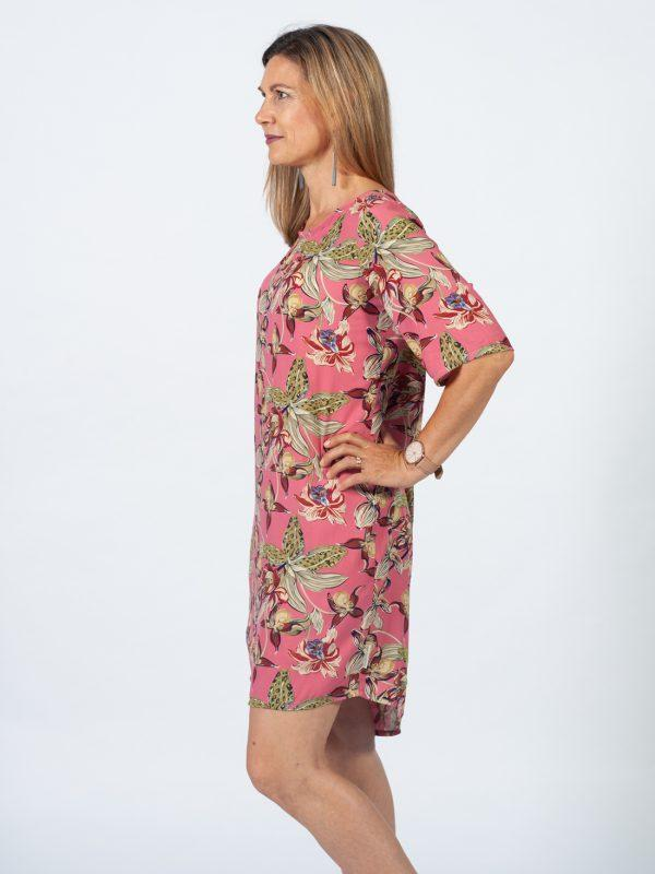 Trendy Tee Dress - Pink Orchid - Side