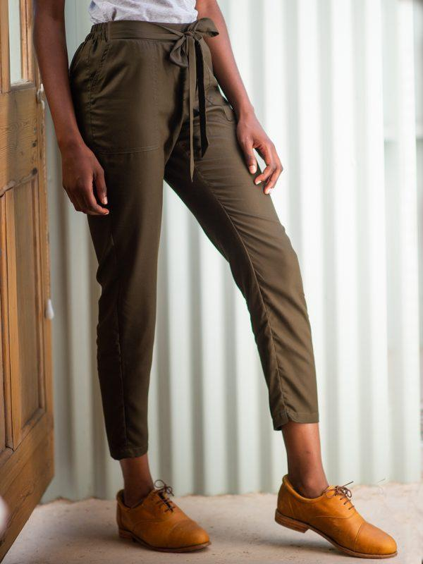 Ladies Leisure Trouser - Olive - Side Front