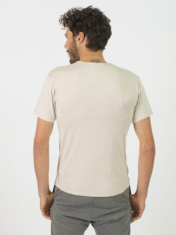 Round Neck Tee - Natural - Back
