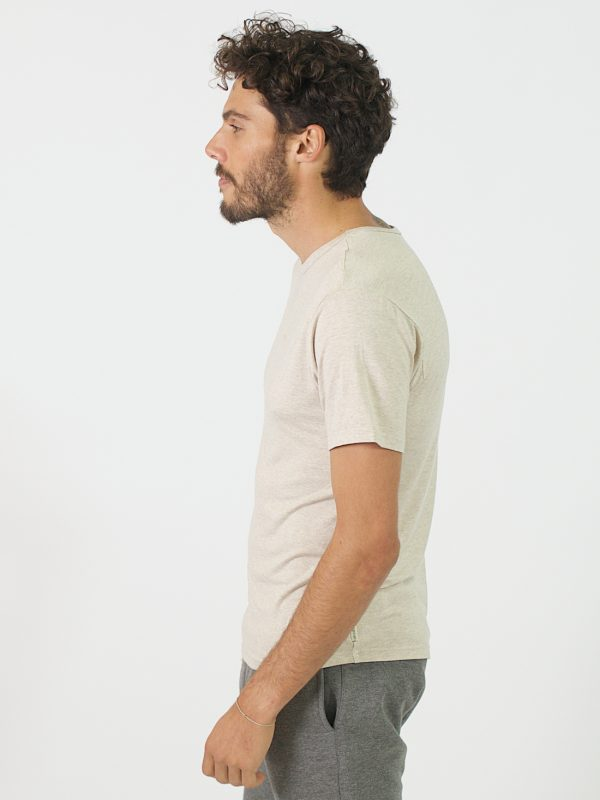 Round Neck Tee - Natural - Side