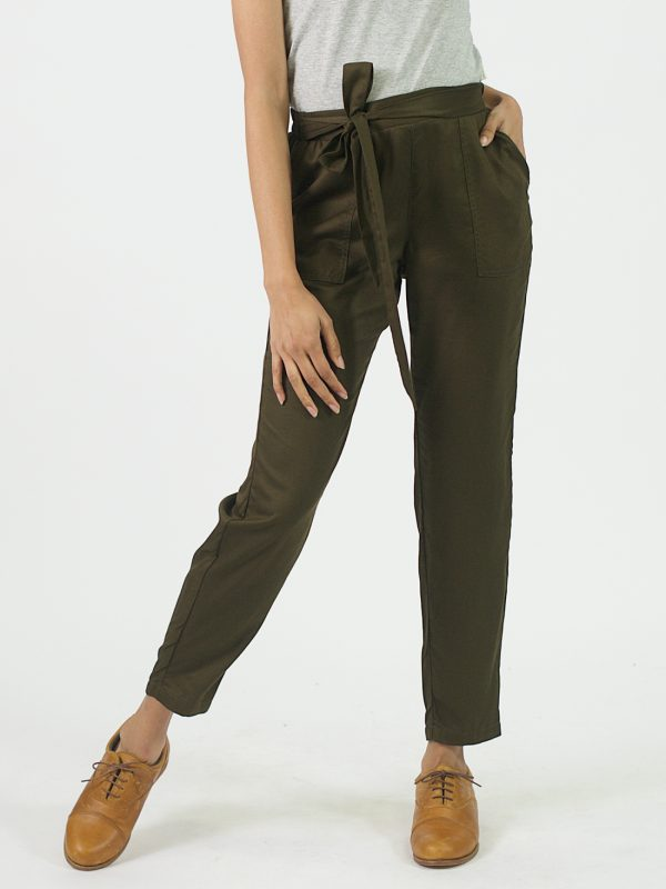 Ladies Leisure Trouser - Olive - Front