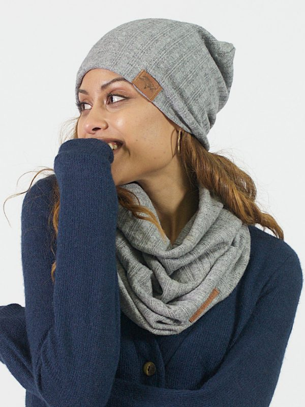 High Top Beanie - Grey Melange Cable Knit - Lifestyle Shot