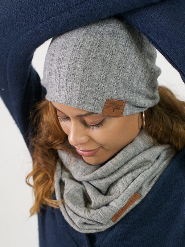 High Top Beanie - Grey Melange Cable Knit - Front