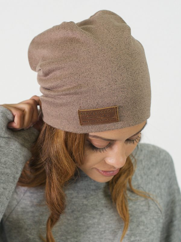 High Top Beanie - Taupe Melange - Front