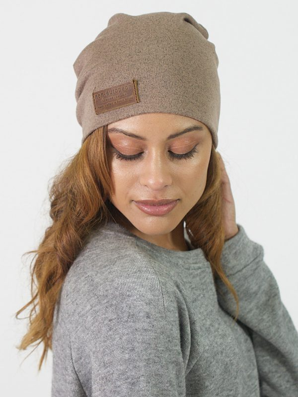 High Top Beanie - Taupe Melange - Front 2