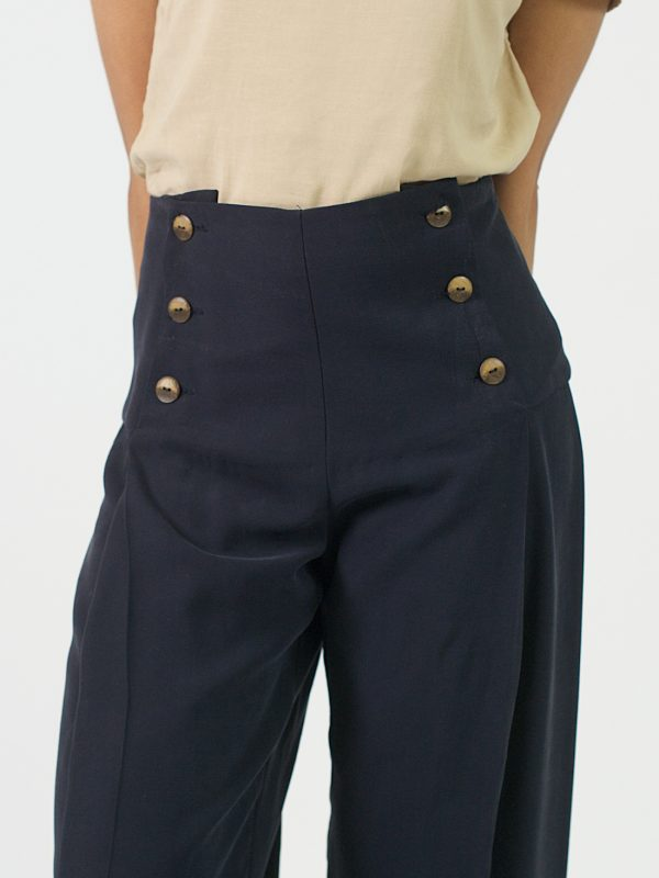 Pleated Trousers - Navy - Detail