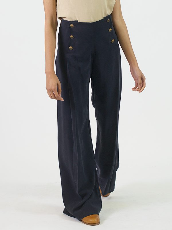 Pleated Trousers - Navy - Front 2