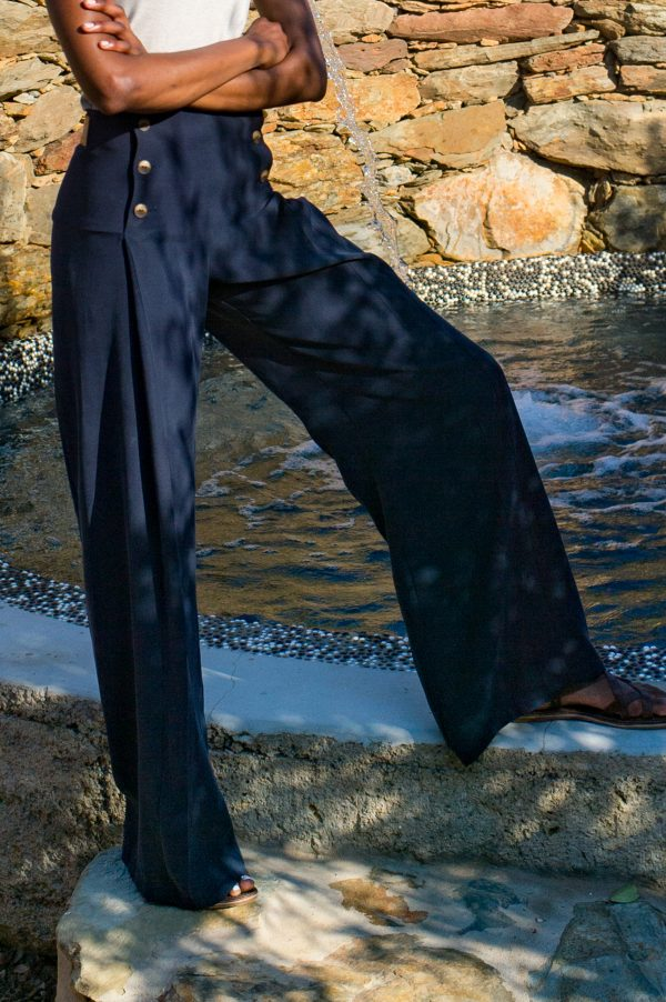 Pleated Trousers - Navy - Front 3