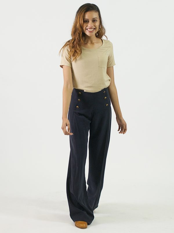Pleated Trousers - Navy - Lifestyle Shot