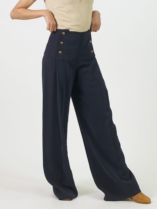Pleated Trousers - Navy - Side