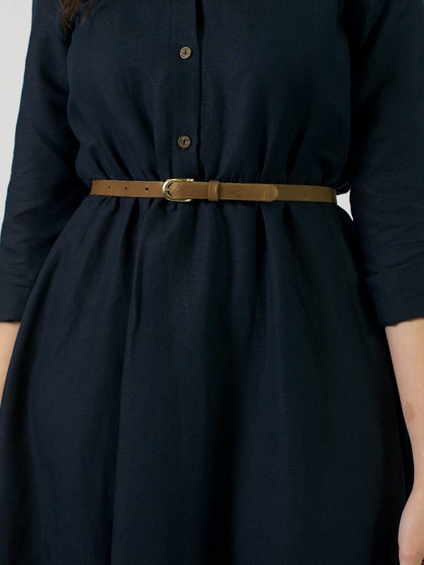 Skinny Leather Belt - Coffee+Gold - Front