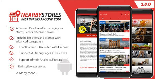 NearbyStores Android – Offers, Events & Chat Realtime + Firebase 1.8