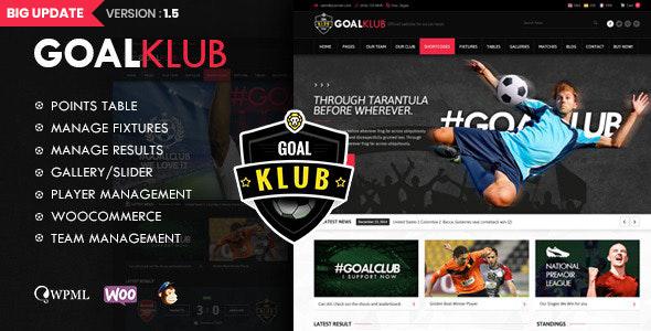 Goal Club   Sports & Events WordPress Theme Nulled