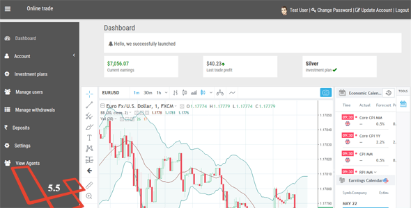 Online Trade – Online investment and cryptocurrency trading system.