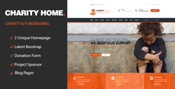 Charity Home – Responsive HTML Template for Fund Raising
