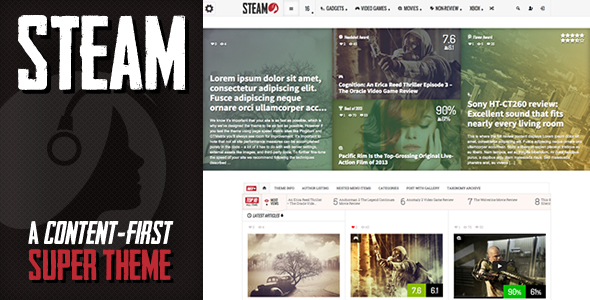 Steam - Responsive Retina Review Magazine Theme Nulled