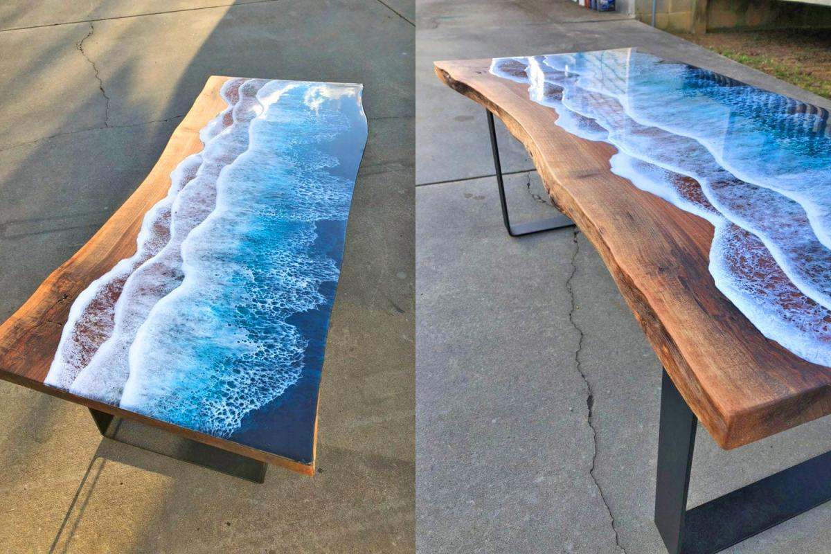 Incredible Resin Tables Made To Look Like Ocean Waves Washing Up