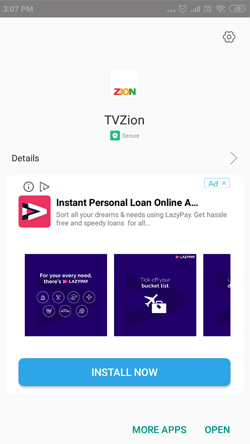 Install TVZion APK on Android Smarthpones