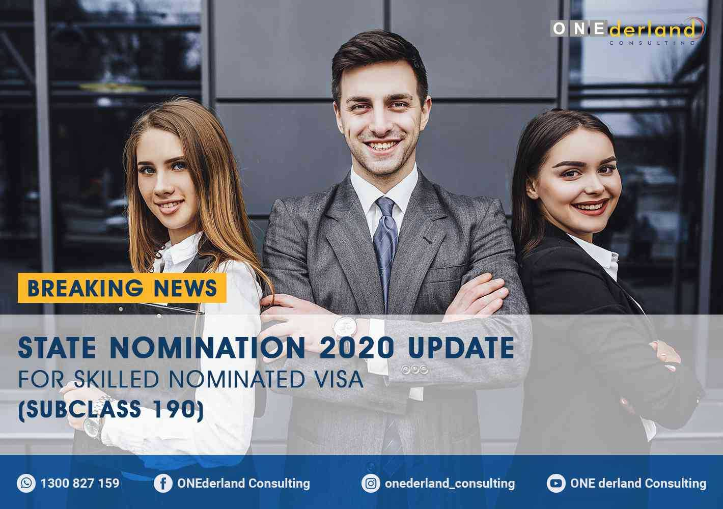 State Nomination 2020 Update for Skilled Nominated Visa (Subclass 190)