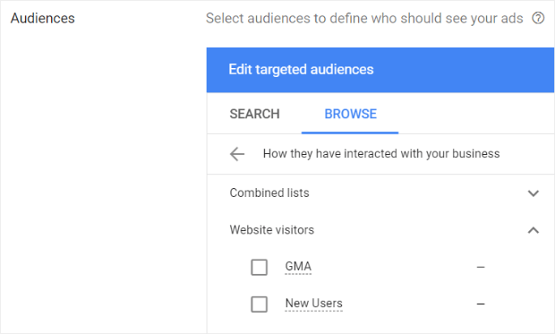 choose your remarketing list in google ads
