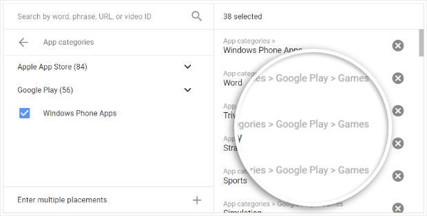 exclude game placements in google ads