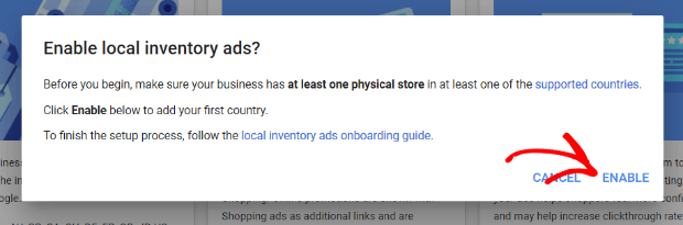 enable local inventory ads
