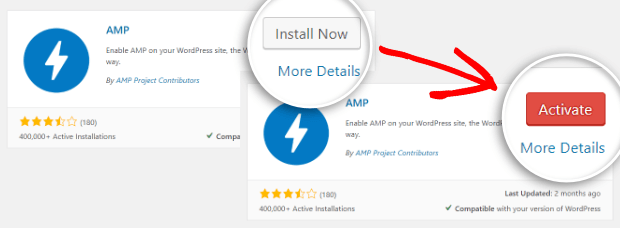 install then activate the amp plugin